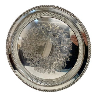 Antique Silver Plated Tray For Sale