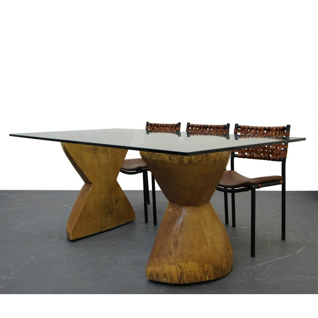 Rustic Pair of Raw Live Edge Wood Hourglass Dining Table Pedestals For Sale - Image 3 of 6