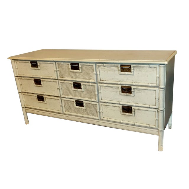 """Campaign 1970s Stanley Furniture """"Bali Hai"""" Campaign Faux Bamboo 9 Drawer Dresser For Sale - Image 3 of 8"""