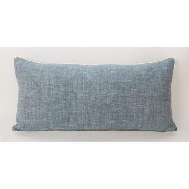 Light Blue Linen Greek Key Lumbar Pillow For Sale - Image 4 of 6