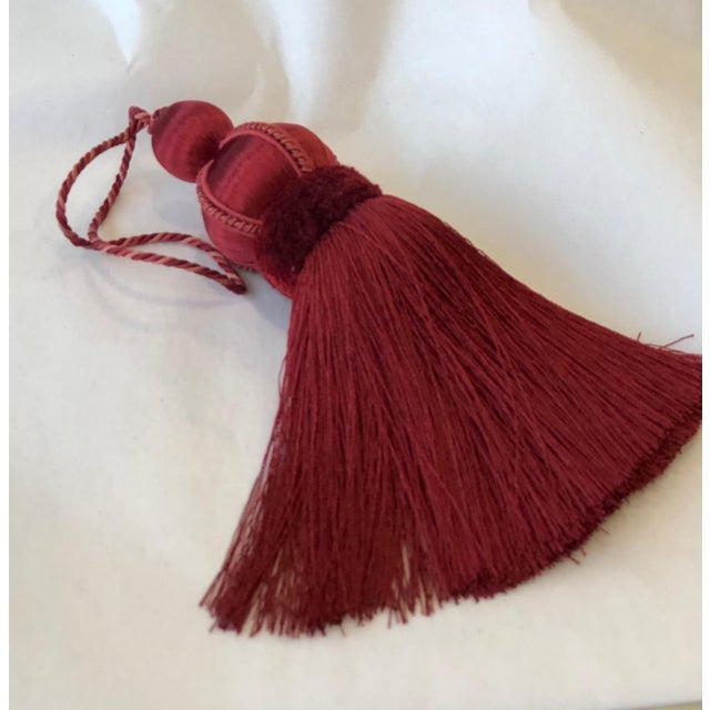 """Red Rouge Key Tassel With Cut Ruche - Tassel Height 5.75"""" For Sale - Image 8 of 9"""