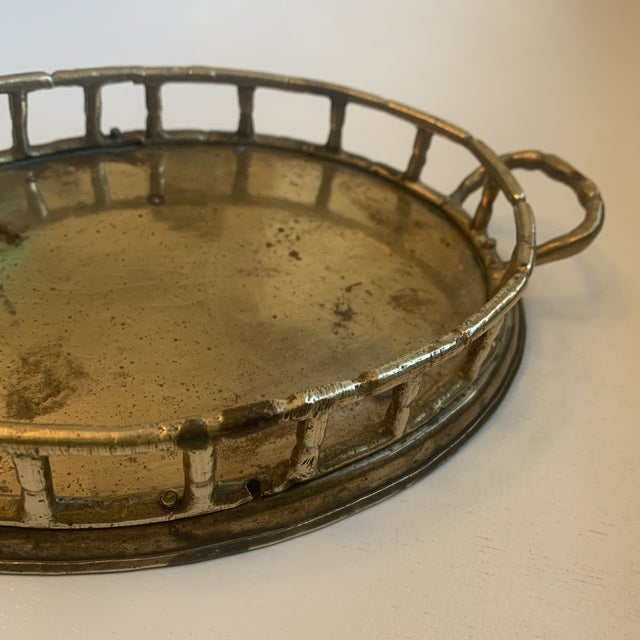 Mid 20th Century Vintage Brass Bamboo Tray For Sale - Image 5 of 6