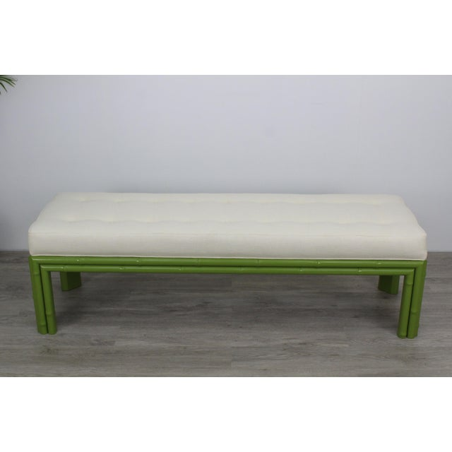 Mid-Century Apple Green Faux Bamboo Bench For Sale - Image 9 of 9