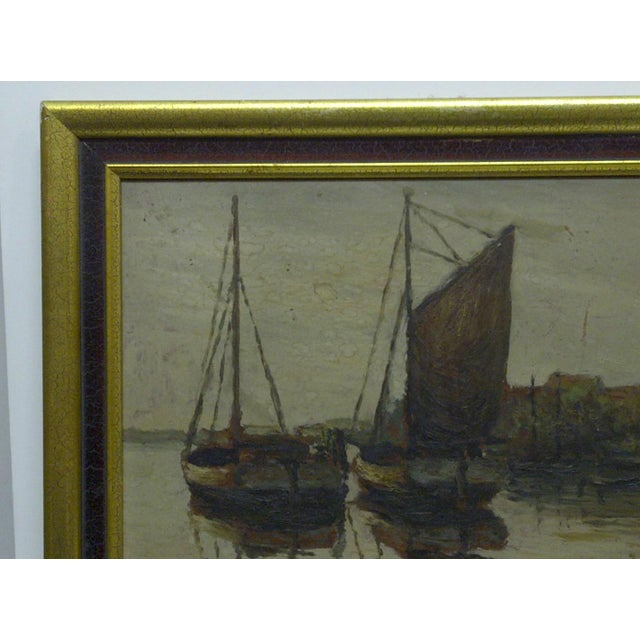 """Docked Boats"" Framed Painting on Board - Image 6 of 7"