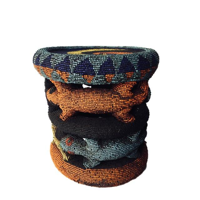 "Animal Skin Beaded Wood Bamileke Leopard Stool /Table Cameroon 8.5'""h For Sale - Image 7 of 13"