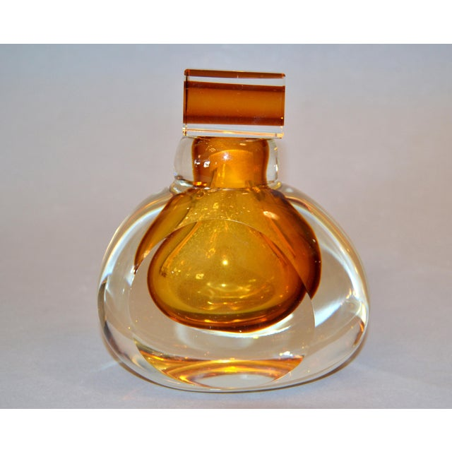 Vintage Clear & Amber Controlled Bubbles Murano Art Glass Perfume Bottle Italy For Sale - Image 13 of 13