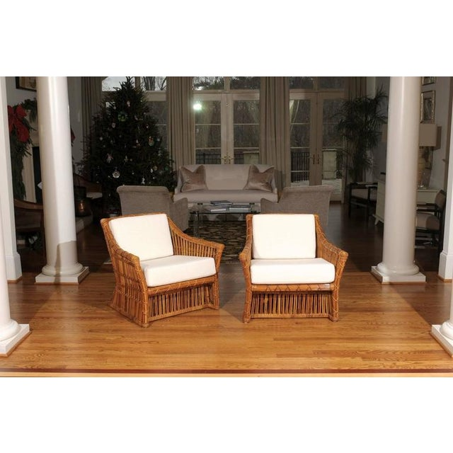 Magnificent Pair of Restored Vintage Rattan Club Chairs by McGuire - Image 7 of 10