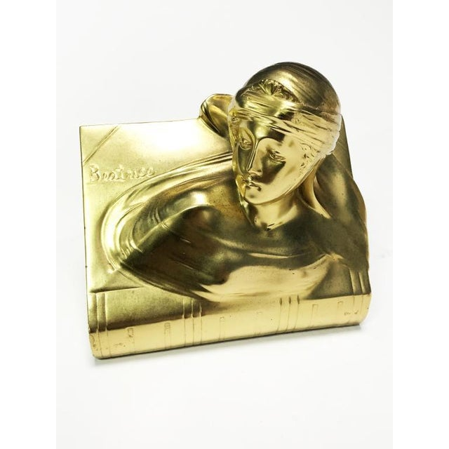 Early 21st Century 1940s Jennings Bros Dante and Beatrice Golden Bronze Bookends - a Pair For Sale - Image 5 of 10