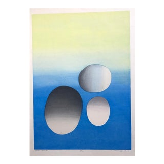"""Cerulean Space #2"" Mid-Century Abstract Woodcut by Ansei Uchima, 1970 For Sale"