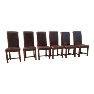 High Back Brown Leather Dining Chairs - Set of 6
