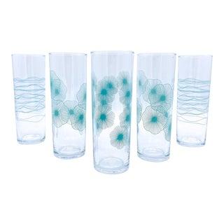 Mid Century Modern Aqua Blue/Green Glasses - Set of 5 For Sale