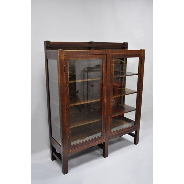 Arts & Crafts 1900s Arts & Crafts Stickley Era Glass Double Door China Cabinet Bookcase For Sale - Image 3 of 13