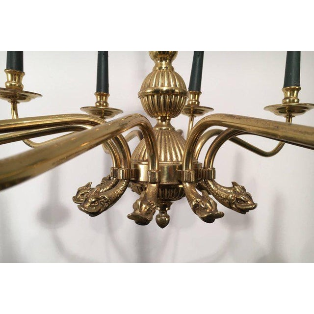 Gold Pair of Large Brass Chandeliers in the Form of Dolphin Heads For Sale - Image 8 of 11