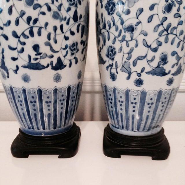 Vintage Blue & White Porcelain Lamps - Pair - Image 6 of 6