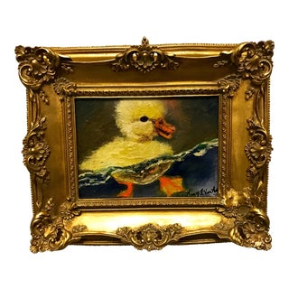 "Duckling Original Oil Painting Framed 7""x5"" Home Decor Gold Frame by Nancy T. Van Ness For Sale"
