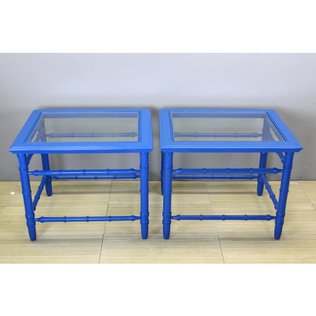 Mid-Century Modern Mid-Century Royal Blue Side Tables - A Pair For Sale - Image 3 of 10