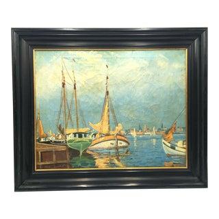 Late 19th Century Impasto Impressionistic European Harbor Oil Painting For Sale