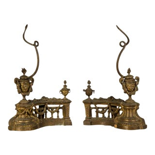 19th Century French Belle Epoque Period Louis XVI Style Aged Bronze Dore Chenets - a Pair