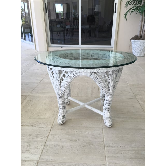 Woodard Outdoor White Wicker End Tables - A Pair For Sale - Image 4 of 4