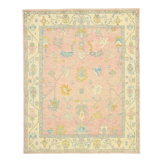 Contemporary Colorful Pink Oushak Rug With Modern Pastel Style - 08'02 X 10'02 For Sale