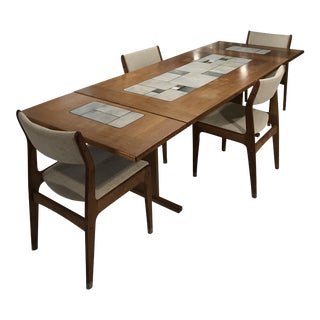 Vintage Mid Century Danish Modern Tile Top Dining Set For Sale
