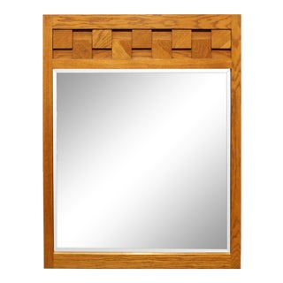 1970s Mid-Century Modern Checkerboard Dresser or Wall Mirror by Lane For Sale