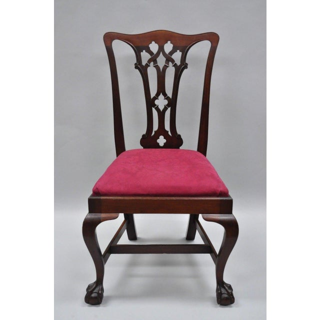 Horsehair seat fill, branded to underside, solid wood construction, beautiful woodgrain, cabriole legs, carved ball and...