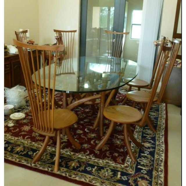 Jeffrey Greene, Nakashima Protege, Dining Set Includes Table Base W 7 Chairs P sold as found in good vintage condition...