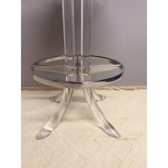 Glamorous Lucite, Chrome and Patent Leather Bar Stools -- A Pair - Image 4 of 6