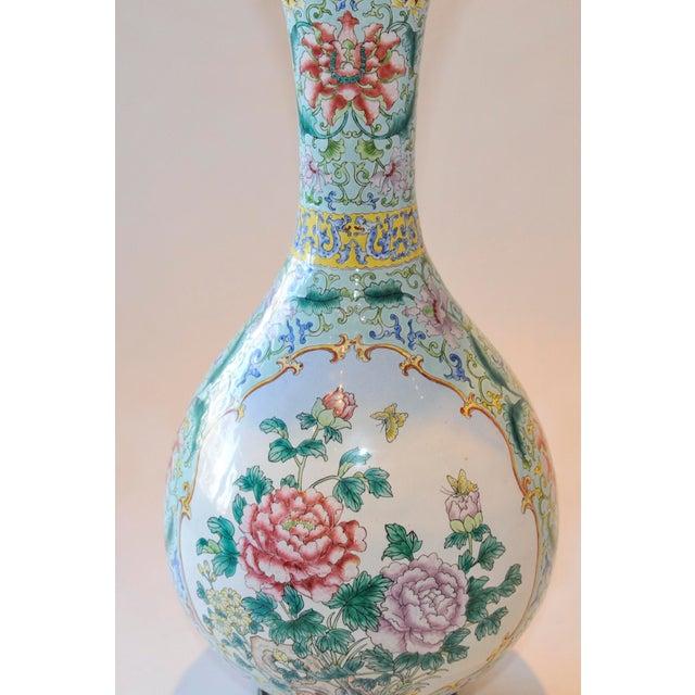 Vintage Chinese Enamel Vase, Flora & Fauna Details For Sale - Image 7 of 11