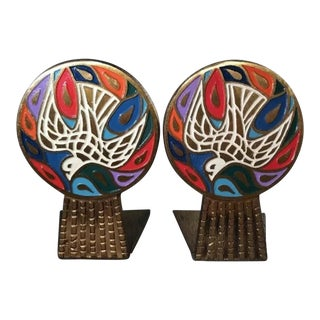1960s Enamel on Metal Peace Dove Bookends Mid Century Modern Israel - a Pair For Sale