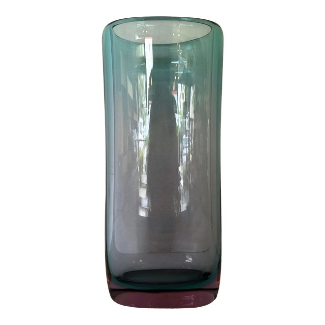 Teal & Purple Thick Murano Glass Vase For Sale