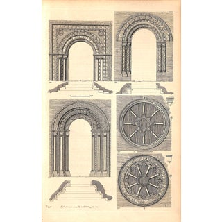 Architecture, Norman Era Church Doorways Windows, Antique 1837 For Sale