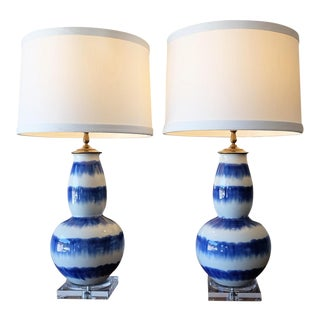 Blue & White Crackle Gourd Lamps - a Pair