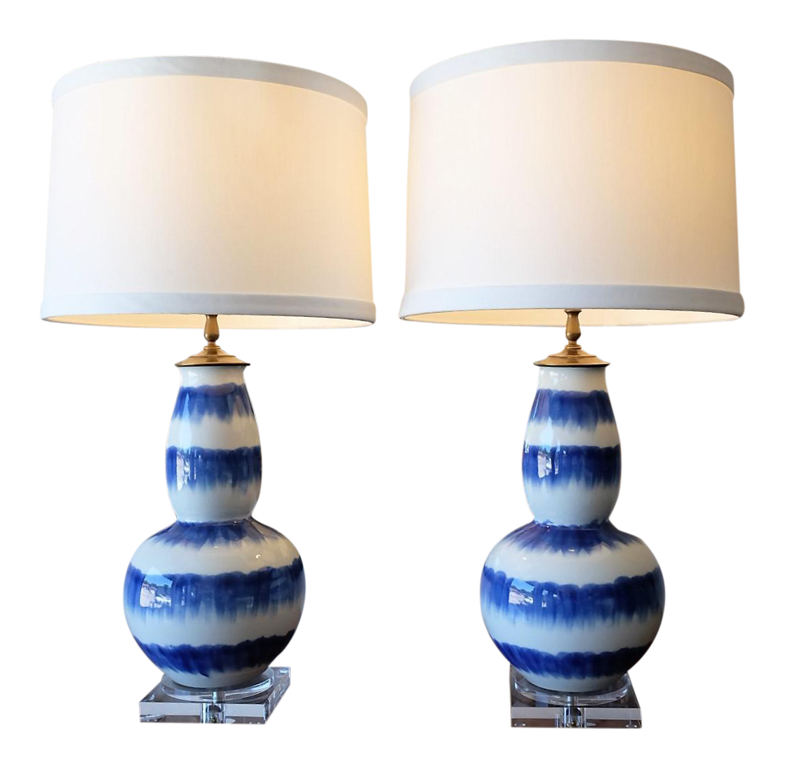 Blue U0026 White Crackle Gourd Lamps   A Pair