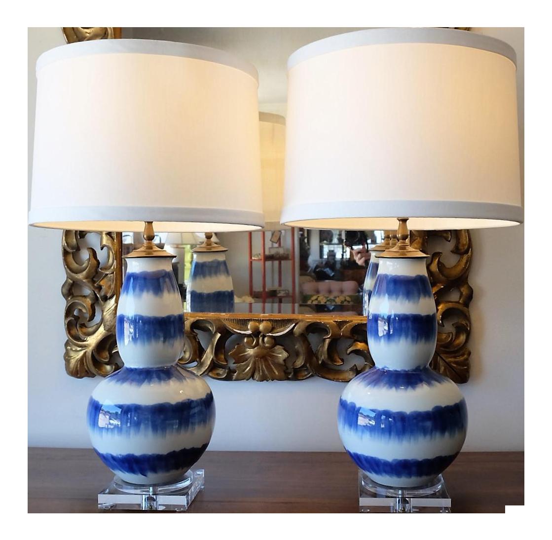 Blue U0026 White Crackle Gourd Lamps   A Pair