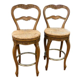 Louis J. Solomon French Country Rush Seat Swivel Stools - a Pair For Sale