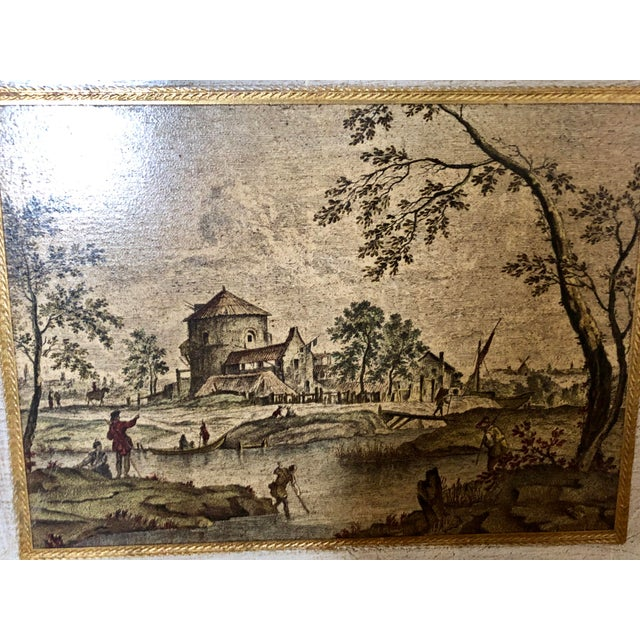 Hollywood Regency Vintage Florentine Scenic Wall Plaques For Sale - Image 3 of 8