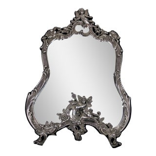 Vanity Sterling Silver Vintage Mirror On Easel Stand For Sale