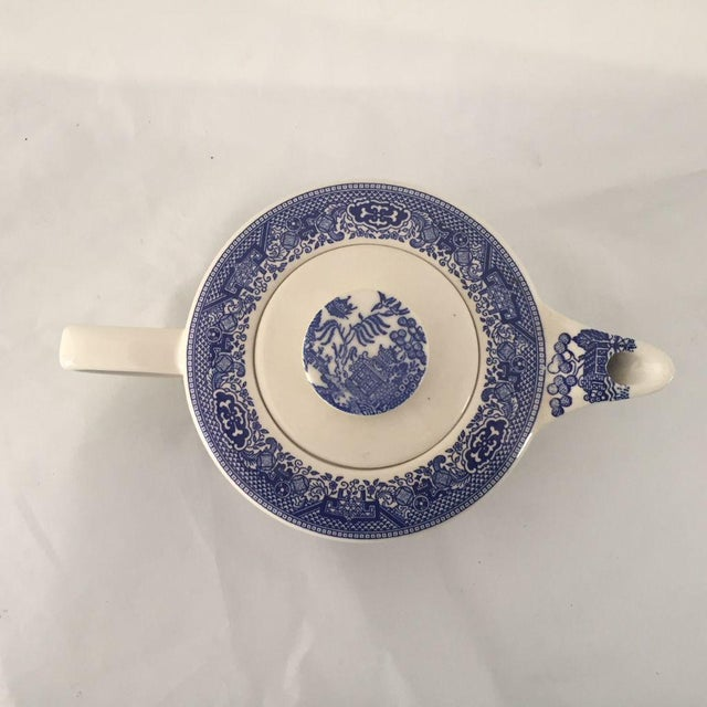 Asian Vintage Blue Willow Teapot, Sugar & Creamer - Set of 3 For Sale - Image 3 of 6