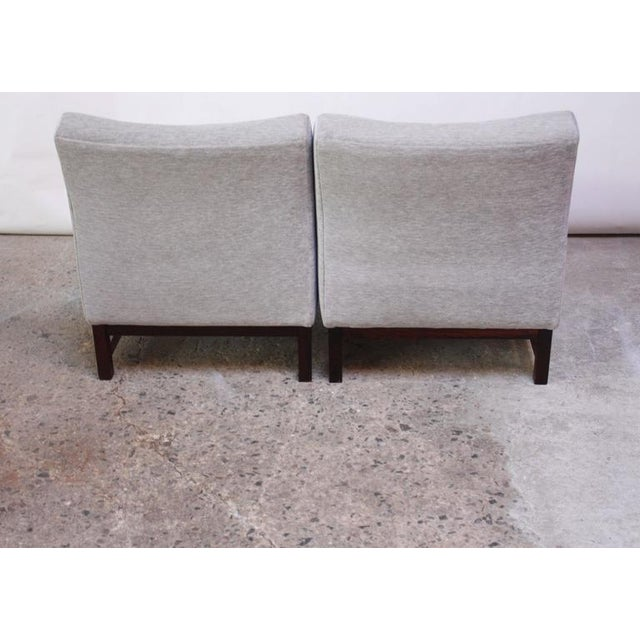 Pair of Danish Slipper Chairs in Chenille and Rosewood - Image 7 of 10