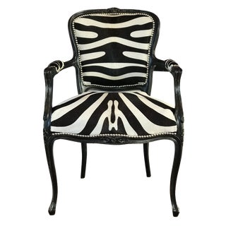 Zebra Cowhide French Chair For Sale