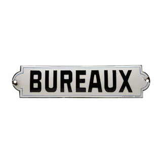 "French ""Bureaux"" Black & White Enamel Offices Sign For Sale"
