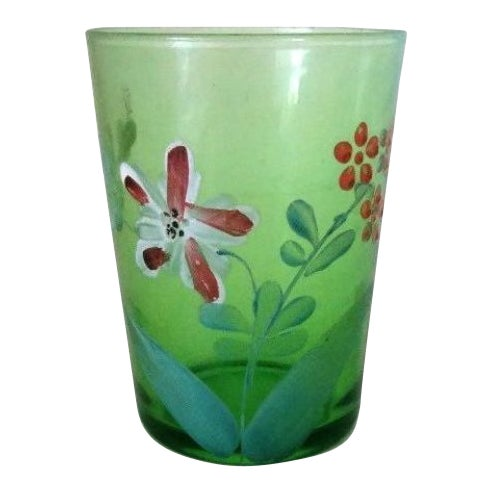 Antique Victorian Green Floral Hand Painted Glass Tumbler For Sale