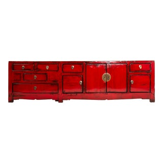 Red Chinese Kwang Chest With Four Doors and Six Drawers For Sale