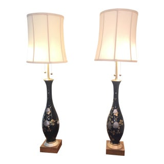 Marbro Cobalt Blue Gilt and Silver Porcelain Lamps - a Pair For Sale
