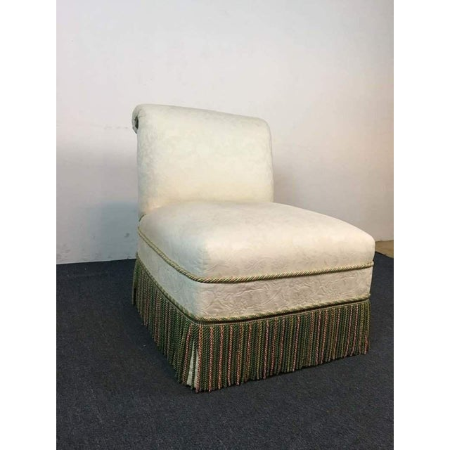 Contemporary French Rococo Style White Upholstered Slipper Chair - Image 4 of 9