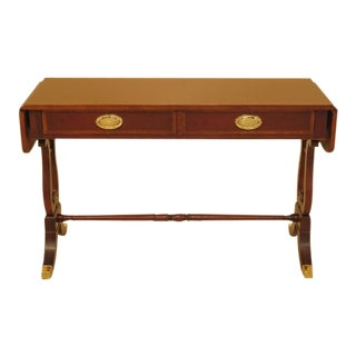 Baker Drop Side Lyre Base Mahogany Sofa Table For Sale