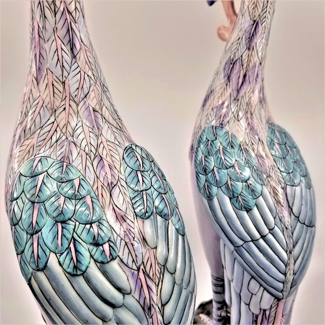 Extra-Large Chinese Porcelain Ceramic Phoenix Bird Sculptures or Figurines - a Pair For Sale - Image 9 of 13