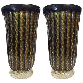 Pair of Murano Black and Gold Pulegoso Vases by Pino Signoretto For Sale